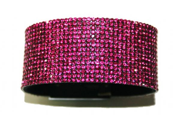 Diamante crystal bling cuff bracelet kit - Fuchsia pink -- c4009005kit